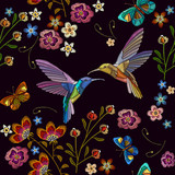 Humming bird and tropical flowers embroidery. Beautiful hummingbirds and exotic flowers on black background. Template for clothes, textiles, t-shirt design - 207588925