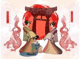 Japan art. Geisha and dragon. Asian culture. Traditional Japanese, red sun, dragons and geisha woman - 207588949