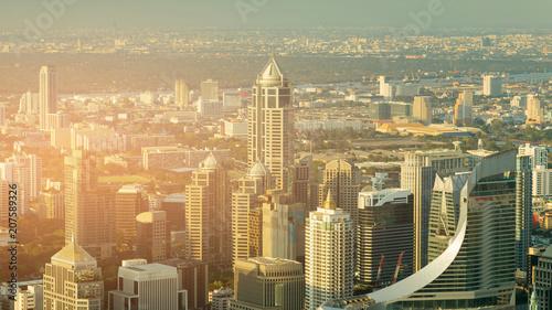 Aluminium Bangkok City business downtown aerial view, Bangkok Thailand
