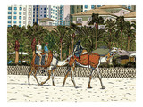 The camels with tourist attraction on Jumeirah beach and skyscrapers in the backround in Dubai, United Arab Emirates.  Hand drawn sketch. Vector.