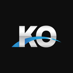Initial letter KO, overlapping movement swoosh logo, metal silver blue color on black background