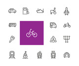 Carriage icons. Set of line icons. Taxi, petrol station, car engine. Transport concept. Vector illustration can be used for topics like transportation, vehicle, travel