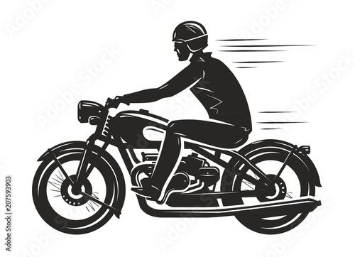 Biker rides a retro motorcycle, silhouette. Motorsport, motorbike concept. Vector illustration