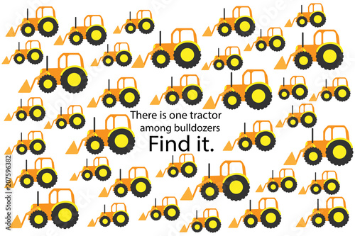find tractor among bulldozers fun education puzzle game with