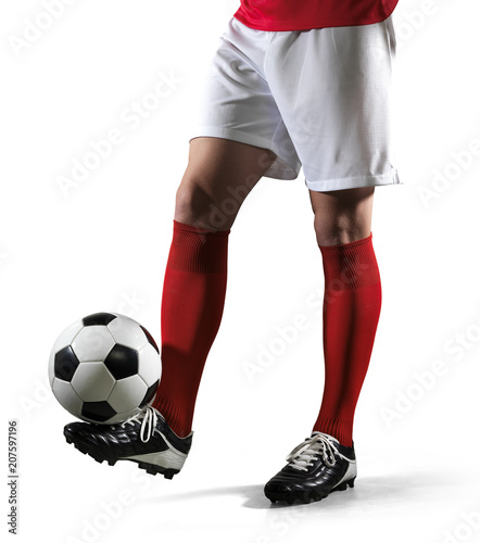 Football player with ball on the isolated white background.