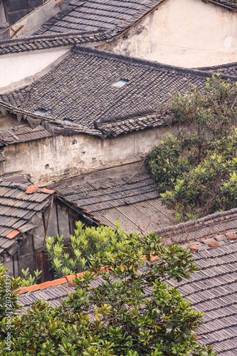 Plexiglas Peking Rooftops of an ancient neighborhood in Hangzhou, China.