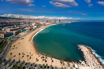 Barcelona beach and barcelona city