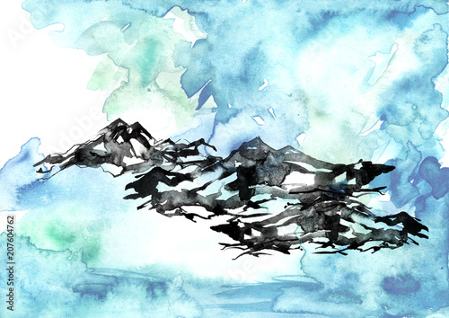 Aluminium Lichtblauw Watercolor painting. Nature, mountains, countryside, black silhouette of mountains.Blue, purple sky, a splash of paint. Postcard, picture, poster, logo. Graphic, vintage drawing.