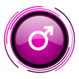 Male gender sign pink glossy web icon isolated on white background - 207605993