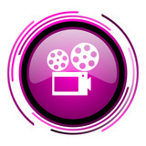 Movie pink glossy web icon isolated on white background