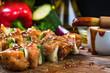Leinwanddruck Bild - kebab skewers with meat and vegetables