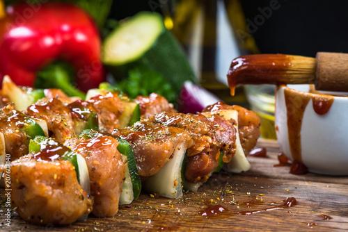 Leinwanddruck Bild kebab skewers with meat and vegetables