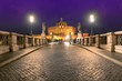 Night view of Saint Angel Castle and bridge over the Tiber river in Rome, Italy. Night cityscape of Rome.