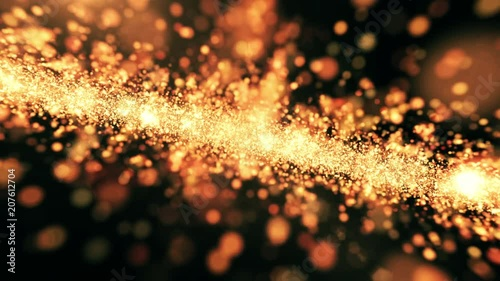 Sticker Gold Dust Light Sparkles Abstract Background Loop 4K