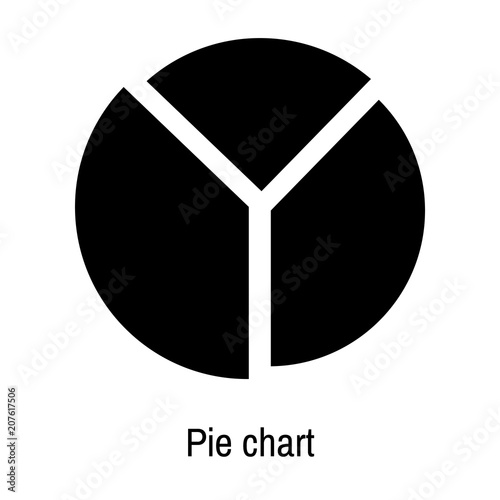Pie chart icon vector sign and symbol isolated on white background, Pie chart logo concept