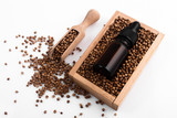 coriander seeds on a white background, essential oil - 207617722