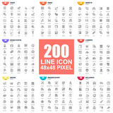 Simple set of vector thin line icons. Linear pictogram pack. 48x48 Pixel Perfect. - 207628503