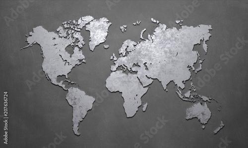 Leinwanddruck Bild World Map