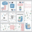 Hand drawn cute card with cactus,star,geometrical,luggage,tribal,Big dream,be brave and enjoy your life