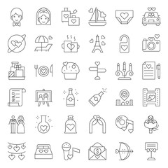 Valentine, Wedding and honeymoon icon set, thin line icon