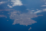 Kalymnos island, Greece. Aerial view out of an airplane window.