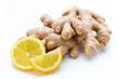 Leinwanddruck Bild - Ginger bio and lemon on white background.