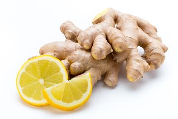 Ginger bio and lemon on white background.