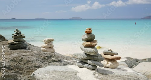 Zen stones on a tropical beach in the Caribbean