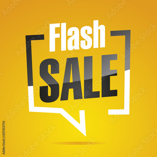 Flash sale in brackets yellow white black isolated sticker icon
