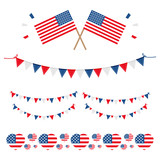 Set, collection of design elements with national usa flag for american holidays, such as fourth of july, veterans day, memorial day. - 207662964