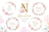 Watercolor boho floral wreath with cotton. Bohemian natural frame: leaves, feathers, flowers, Isolated on white background. Artistic decoration illustration. Save the date, weddign design - 207668364