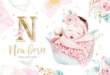 Cute newborn watercolor baby. New born child illustration girl and boy painting. Baby shower isolated birthday painting card. - 207668709