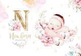 Cute newborn watercolor baby. New born child illustration girl and boy painting. Baby shower isolated birthday painting card. - 207668775