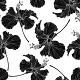 Beautiful seamless floral pattern. Hibiscus flowers background. Hibiscus flower realistic vector repeatable design. - 207669177