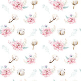 Watercolor seamless floral pattern with cotton. Bohemian natural patterns: leaves, feathers, flowers, rose boho white background. Artistic decoration illustration. Textile design - 207669181