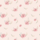 Watercolor seamless floral pattern with cotton. Bohemian natural patterns: leaves, feathers, flowers, rose boho white background. Artistic decoration illustration. Textile design - 207669328