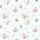 Watercolor seamless floral pattern with cotton. Bohemian natural patterns: leaves, feathers, flowers, rose boho white background. Artistic decoration illustration. Textile design - 207669518