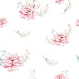 Watercolor seamless floral pattern with cotton. Bohemian natural patterns: leaves, feathers, flowers, rose boho white background. Artistic decoration illustration. Textile design - 207669718