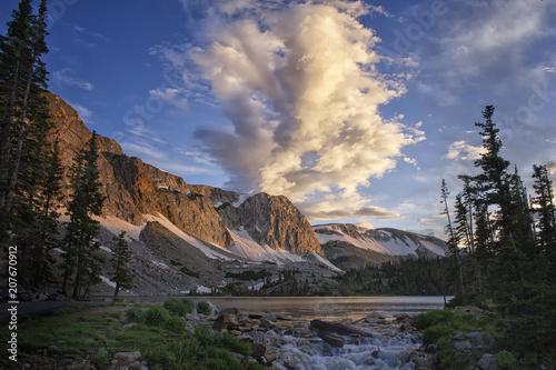 Plexiglas Diepbruine Clouds over Old Main; Snowy Range; Wyoming