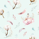 Watercolor seamless floral pattern with cotton. Bohemian natural patterns: leaves, feathers, flowers, rose boho white background. Artistic decoration illustration. Textile design - 207671726
