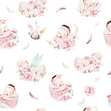 Cute newborn watercolor baby pattern. New born dream sleeping child illustration girl and boy patterns. Baby shower birthday painting backgraund painting. - 207671796