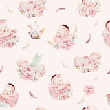 Cute newborn watercolor baby pattern. New born dream sleeping child illustration girl and boy patterns. Baby shower birthday painting backgraund painting. - 207671944