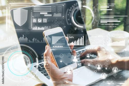 Fridge magnet Technology, innovation and finance concept