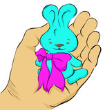 Blue toy bunny with a pink bow sits on a palm, vector