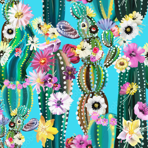 Hand painted blooming cactus, cacti, succulents, colofrul seamless pattern. Abstract cactuses with flowers, florals - 207673317