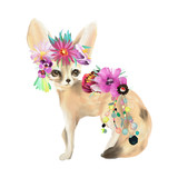 Cute mexican animal fennec fox with boho feathers decoration and floral bouqet, flowers wreath - 207673547