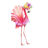 Cute and beautiful pink flamingo mexican bird with boho feathers decoration and floral bouqet, flowers wreath
