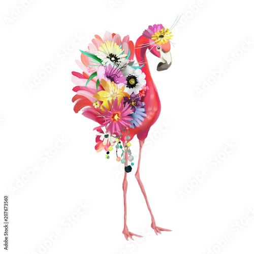 Ślicznego i pięknego różowego flaminga meksykański ptak z boho upierza dekorację i kwiecistego bouqet, kwitnie wianek
