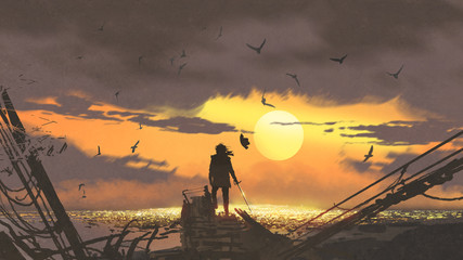 the pirate with a sword standing on ruins of boat and looking at golden treasures at sunset, digital art style, illustration painting © grandfailure