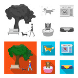 Walking with a dog in the park, combing a dog, a veterinarian office, bathing a pet. Vet clinic and pet care set collection icons in monochrome,flat style vector symbol stock illustration web. - 207674778